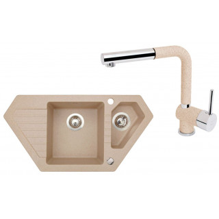 Kuchyňský set Sinks (dřez Bravo 850.1 Beige 91 + baterie Mix 3 P Beige)