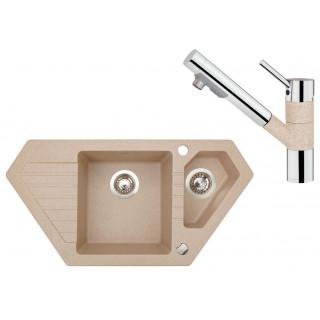 Kuchyňský set Sinks (dřez Bravo 850.1 Beige 91 + baterie Mix 4000 PLUS S Beige)
