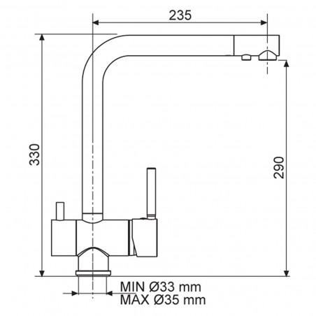 Kuchyňská baterie Sinks Mix 3 Filter Chrom - lesklý