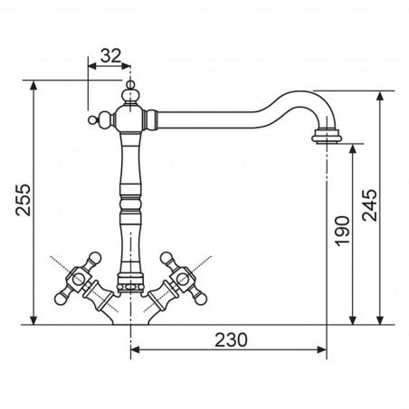 Kuchyňská baterie Sinks Retro 2000 Chrom - lesklý